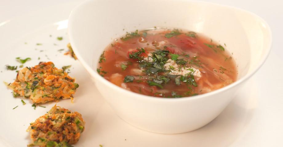 Суп из сельдерея с оладьями